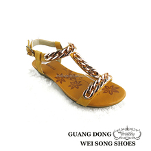 China supplier ankle strap plastic chain insole printed design cheap wedge sandals