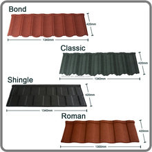 manufacture colorful stone coated steel roofing tile/color stone coated step tile roof/color stone chip coated steel roof tile