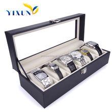 Large 6 Grid Watch Jewelry Watch Display Organizer, Gloss Top Box Case, Gif Storage -Synthetic Black Leather