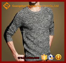 guangzhou men round neck acrylic raglan sleeve two color long sleeve sweater
