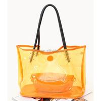 transparent PVC beautiful lady handbag, plastic beach bag 2015 for summer