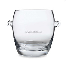 China manufacture customized size round large lead crystal ice bucket with ear popular model