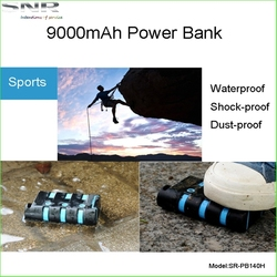 Waterproof power bank 9000mAh rechargeable usb batteries outdoor portable power travel chargers