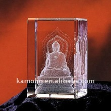 Optical Glass 3D Laser Engraved Budda Crystal Cube For Religion Gifts