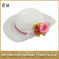 Novelty top quality kids white wide brim sun beach straw paper hat with rose flower