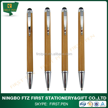 Custom Bamboo Ball Pen With Touch Stylus