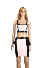 white and black backless bandage sexy rayon halter two piece prom dress