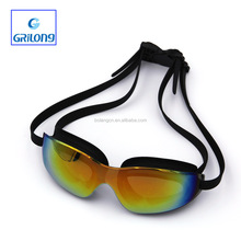 Standardized factory PC color lens silicone strap swim goggle set 2015 with case