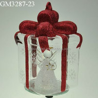Gift box shaped color changing glass gift craft decoration