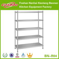 Supply nice appearance 5 tiers metal stainless steel sheet heavy duty storage rack