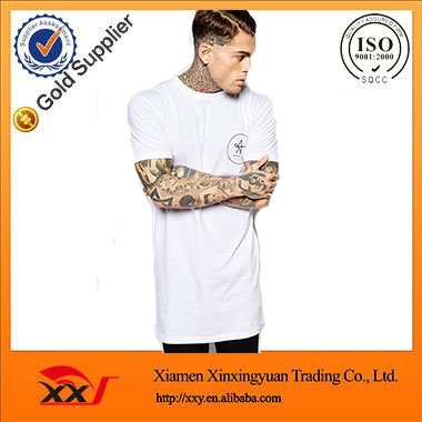 Top fashion apparel plain no brand white t shirt long tee for Create your own t shirt store online