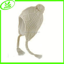 Warm double winter ear cap knitted snow cap