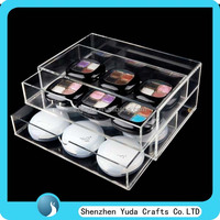 polished acrylic drawer storage box, durable lucite make up organizer, best selling clear makeup organizer box