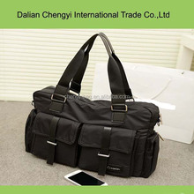 large capacity black polyester tote bag , big bag