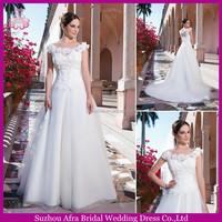 SD2235 lace flower bodice cap sleeve organza wedding dress for muslim women