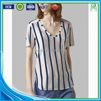 Wholesale Custom Body Fit Polyester Cotton Blend Women Vertical Stripe T shirts