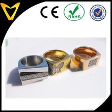 Custom design heavy men ring,stainless steel finger ring with prong set stones,hot sell gold wedding band CNC diamond men ring