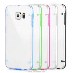 Transparent Clear Silicone Bumper Case and Screen Protector For Samsung Galaxy S6 Cover