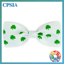 Lovely Small Hair Bows White St. Patrick's Day Four Leaf Clover Bow Tie Girl Hiar Bows