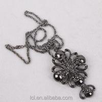 2015 new design halloween big pendant punk jewelry necklace chain punk skull pendant black chrome plated