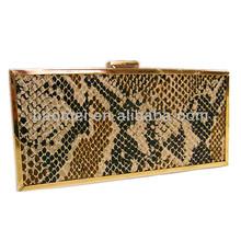 Wolesales Genuine Snake Crocodile Skin Leather Evening Cluther Handbag