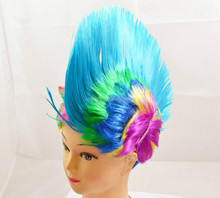 Multi color short mohawk wig punk rocker party blue mohawk wig for party W4038