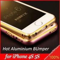 2015 Luxury Aluminum Metal Bumper for Apple iPhone 4S 5S aluminum bumper with gold line