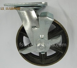 High Temperature 150mm Swivel Locking Cast Iron Industrial Caster Wheel