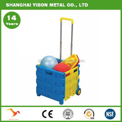 Grocery Plastic Folding Box Trolley For Sale Shopping Foldable Trolley
