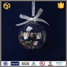 Clear glass ball gifts 2015 christmas tree ornament
