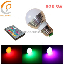 3w 16 color remote control cheap led bulb 220v e27 base for home garden