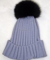 Button Connect Big Black Fox 15cm Fur Ball Pom Pom Knitted Beanie Hat/Cap