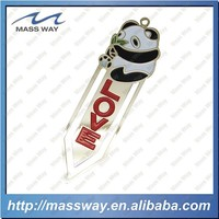 customized personalized enamel lovy panda shape brass gold bookmark