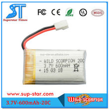 WS372006 wild scorpion brand OEM/ODM 3.7V 600mAh lipo battery for electric car