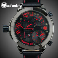 INFANTRY Men's Luxury Red Date Hours Big Clock Sport Leather Watch
