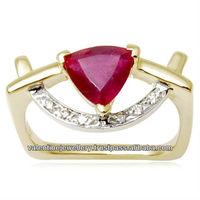 trillion shaped bangkok ruby pave setted diamonds 14k gold ring