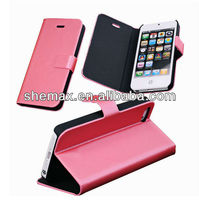 Popular smooth leather case for Iphone 5 flip cover for iphone5g Smartphone case