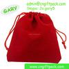 Red Flocking Velvet Drawstring Jewelry Christmas Gift Packing Bag 5x7