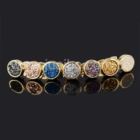 Fashion jewelry gold plated 8mm round druzy stud earring,natural stone bezel agate druzy earring