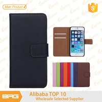 BRG newest Elegant Plain Grain genuine leather phone case for iphone 6 with credit card holder