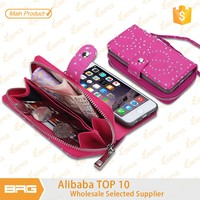 BRG bling bling rhinestone mobile phone detachable wallet leather case cover for apple iphone6 with lanyard strip