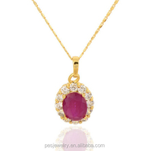 Newest Fashion 28K Gold Plated Garnet CZ 925 sterling silver Oval Pendant