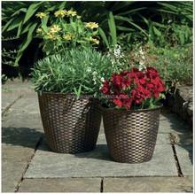 Antique Bronze Effect Garden Plastic Rattan Flower Pot Outdoor Planters