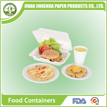 Disposable bio-degradable dinner sets and tableware with sugarcane pulp.