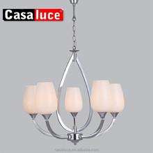 Home decor design silver color glass shade chandelier light
