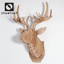 European style wooden animal deer heads home interior decor art crafts