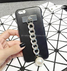Fashion Tassel Style Hard PC Cover For iPhone 5 5s 6 6 plus Black Case With Chain