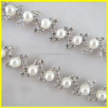 Customized Pearl and Crystal Swarovski Crystal Trimming For Wedding Dress