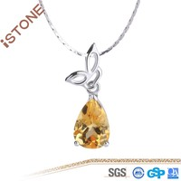 Fashion Design Natural Fine Citrine 925 Siver Pendant For Women