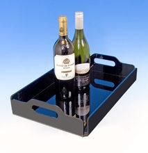 Black high quality acrylic beverage tray, acrylic serving tray